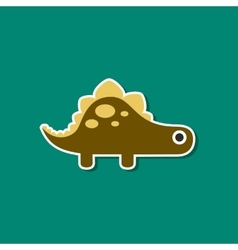 Paper sticker on stylish background dinosaur vector