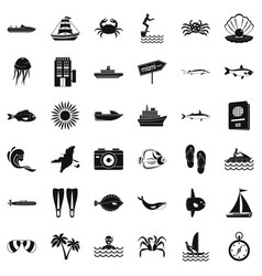 Pelagic icons set simple style vector