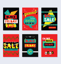 red and black funky black friday sale cards set vector image vector image