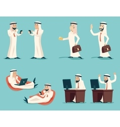 Retro vintage successful arab businessman working vector