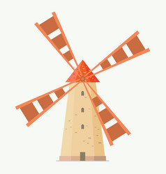 rural windmill in flat style vector image vector image