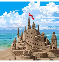 Sand castle on the beach vector