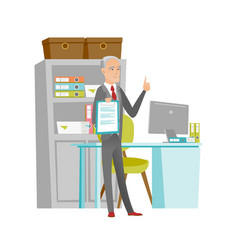 Senior businessman with clipboard giving thumb up vector