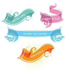 set of decorative ribbons and banners vector image