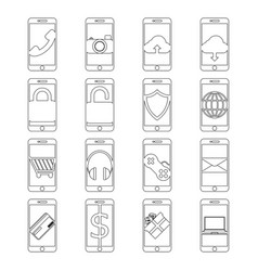set of mobile phone line icon design editable vector image