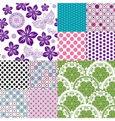 Set vintage colorful patterns vector image