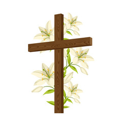 Silhouette of wooden cross with lilies happy vector