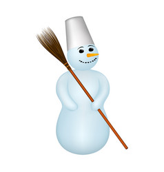 Snowman with a broom vector