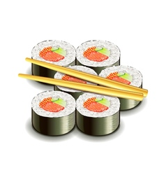 Sushi roll isolated on white vector image
