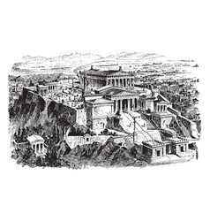 The acropolis of athens - restoration of the vector