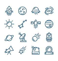 thin line space icons set vector image