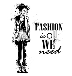 trendy look girl with splashes vector image