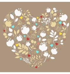 White floral heart vintage greeting card vector