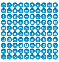 100 box icons set blue vector