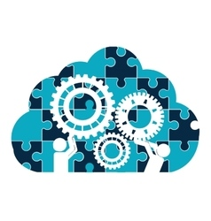 Pictograms gears cloud teamwork support design vector