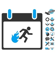 Fire Evacuation Man Calendar Day Icon With vector image