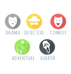 Drama detective comedy adventure horror film logo vector