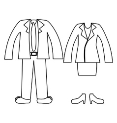 Silhouette with formal suit clothing vector