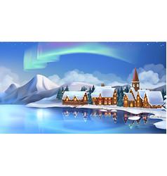 Winter landscape christmas cottages festive vector
