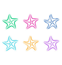 Colorful stylized starfish icons vector