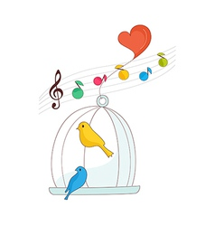 A singing bird in a cage vector
