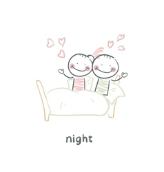 Loving couple in bed vector