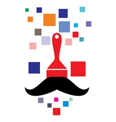 Pixel paint brush with mustache vector