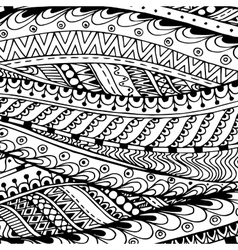 Asian ethnic doodle black and white pattern in vector