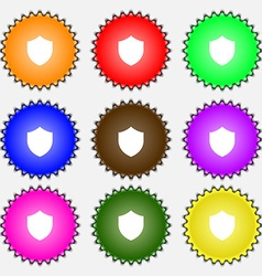 Shield protection icon sign a set of nine vector