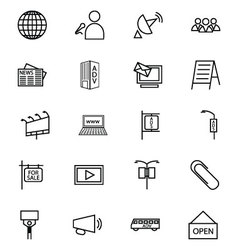 Media and advertisement line icons 3 vector