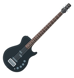 Flat style black electric bass guitar vector