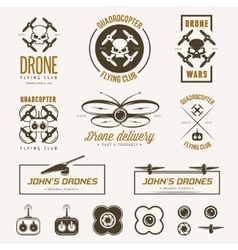 Set of drone flying club labels badges vector