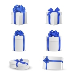 Set of white gift boxes with blue bows and ribbons vector