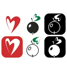 Apple leaf heart vector