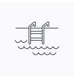 Swimming pool icon waves and stairs sign vector
