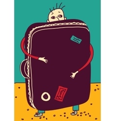 Emigration or travel man with suitcase color vector