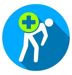 Medication courier flat round icon with long vector