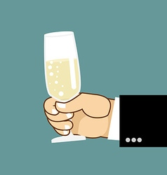Mens hand and glass of champagne Businessman vector image