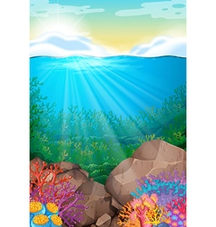 Scene with view under the ocean vector image