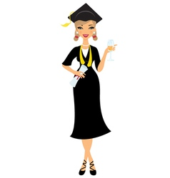 Graduate girl vector image