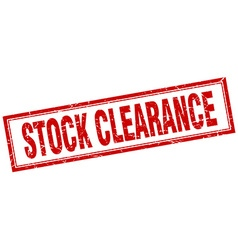 Stock clearance red grunge square stamp on white vector