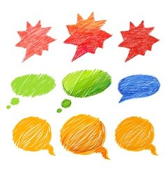 Set of comic style colorful hand-drawn talk clouds vector image