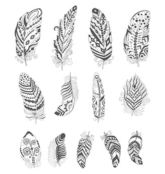 Set of ornamental boho style feather vector