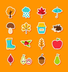 autumn flat stickers vector image vector image