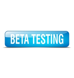 Beta testing blue square 3d realistic isolated web vector
