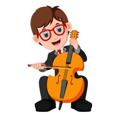 Boy playing cello cartoon vector