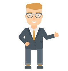 Businessman giving thumb up vector