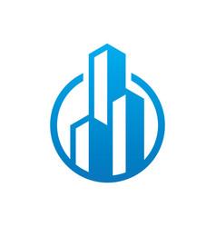 Circle skyscraper building logo vector
