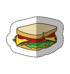 Color sandwich fast food icon vector