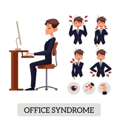 Concept of office syndrome Male vector image